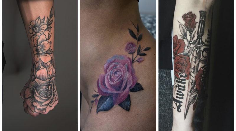 фото коллаж татуировок из роз