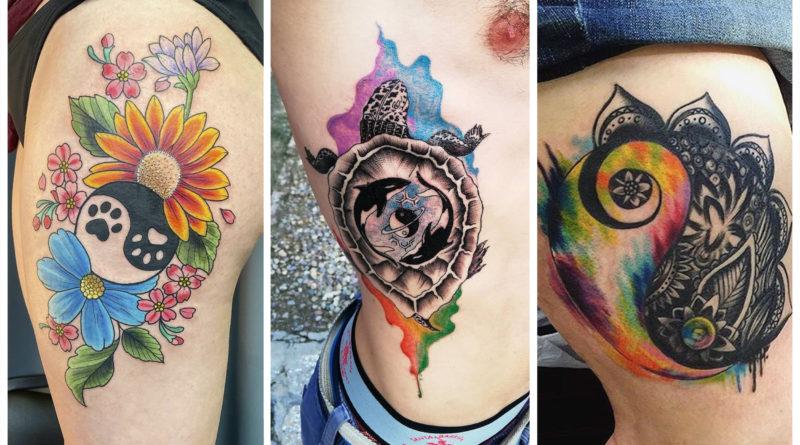 Коллаж фото татуировок инь янь