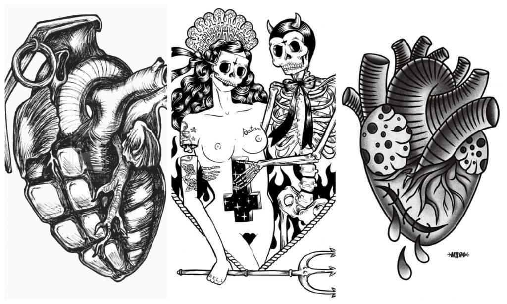 Эскизы Татуировок Сердца для Девушек и Мужчин