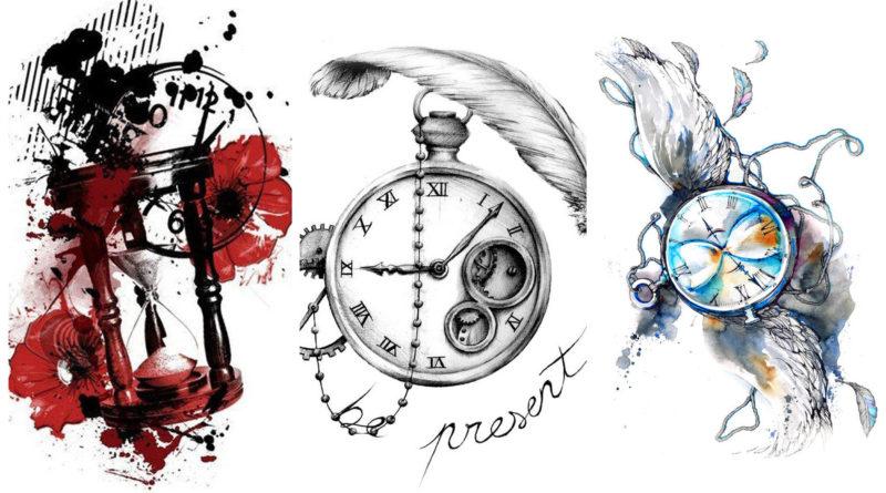 Коллаж эскизов тату часы