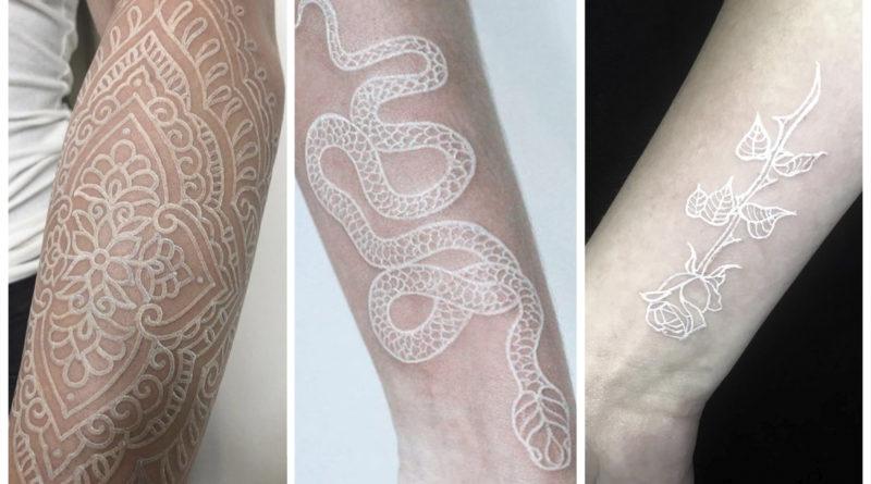 фото коллаж белая татуировка