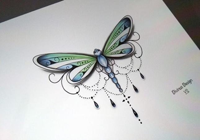 Привлекательный эскиз стрекозы для девушек
