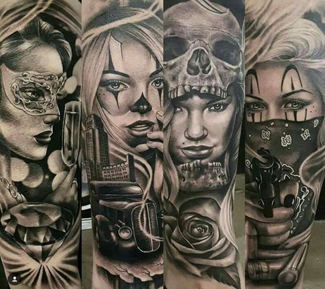 татуировки в стиле чикано - девушки