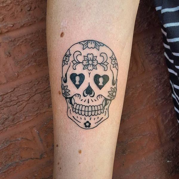 Симпатичные сахарные черепа татуировки наброски