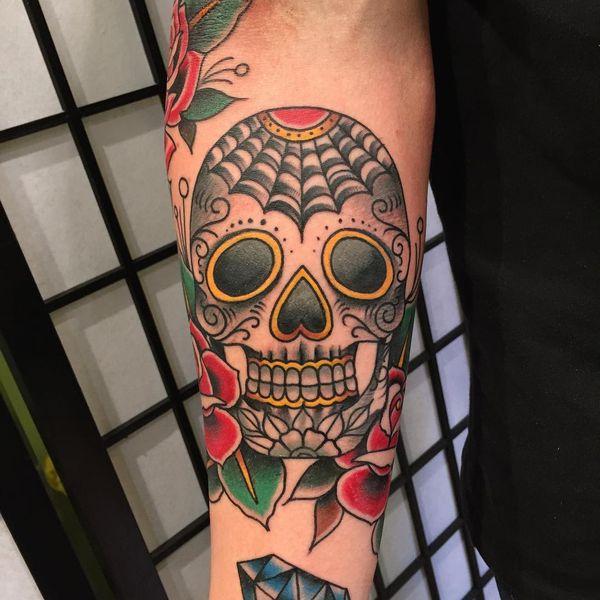Мексиканская татуировка черепа в классическом стиле