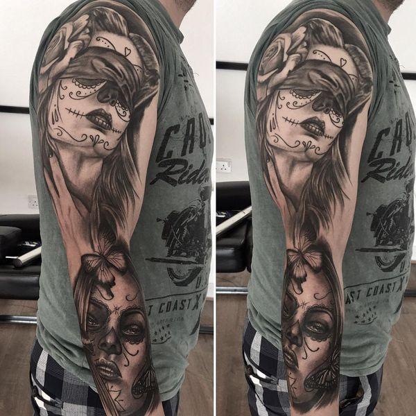 Татуировки с сахарным черепом для мужчин