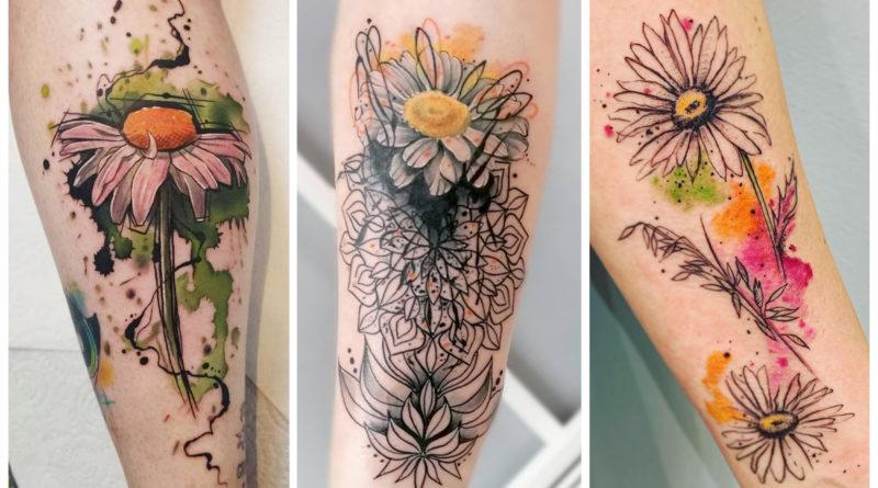 [100 Фото] Татуировки Ромашек
