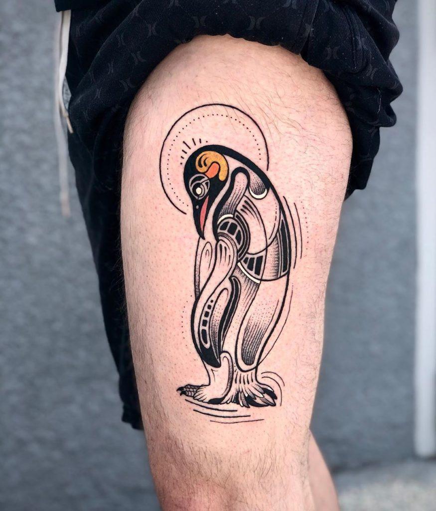 тату пингвин в наушниках фото можно помощью