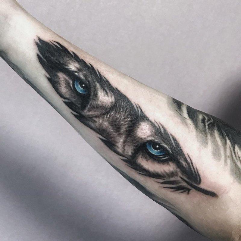тату глаза волка на руке