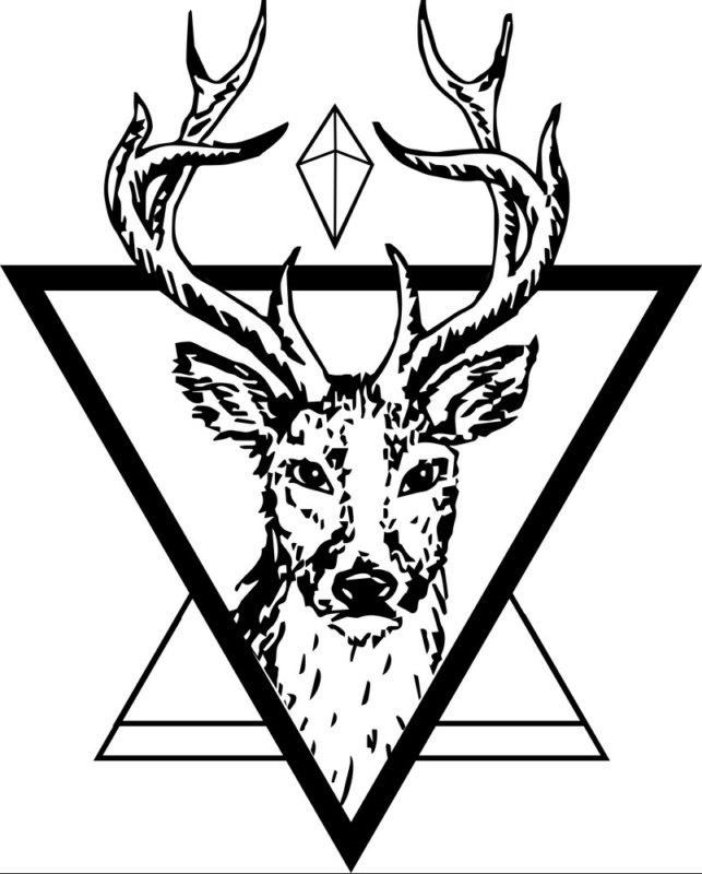 Эскиз оленя в треугольнике