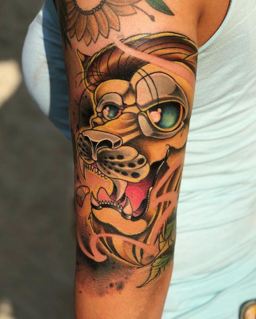 Татуировка льва в японском стиле