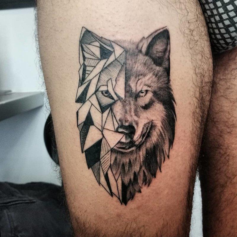 волк в стиле реализм и графика