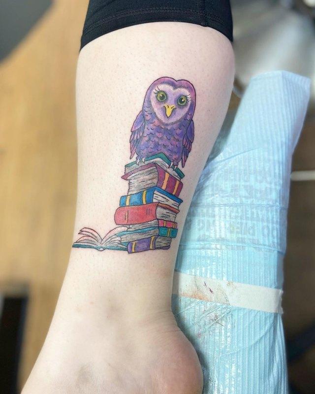 цветная сова на книгах