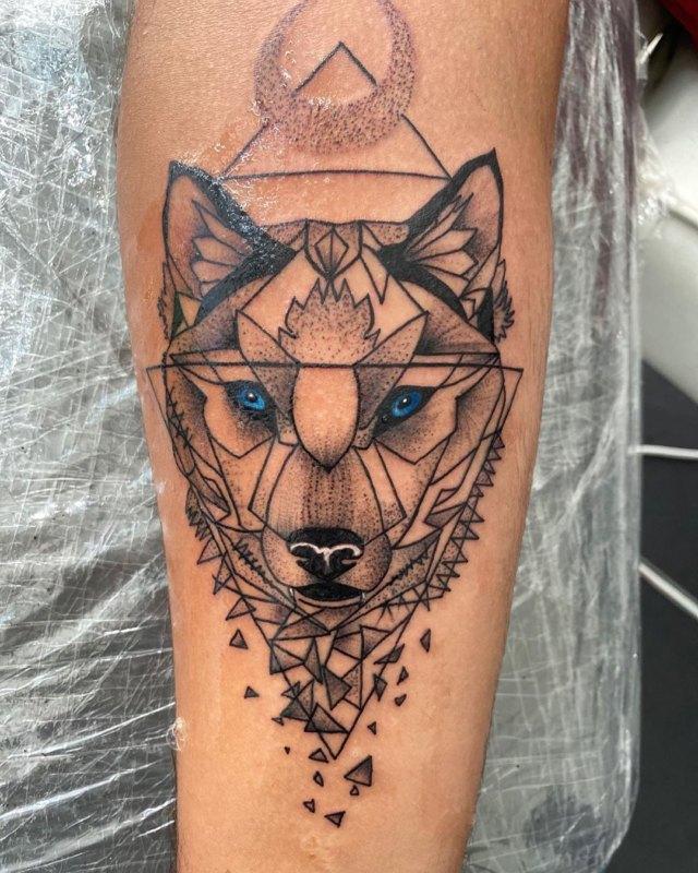 Волк с треугольником в стиле графика
