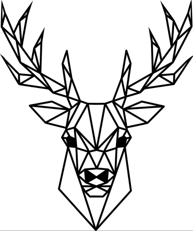 Эскиз оленя в стиле геометрия