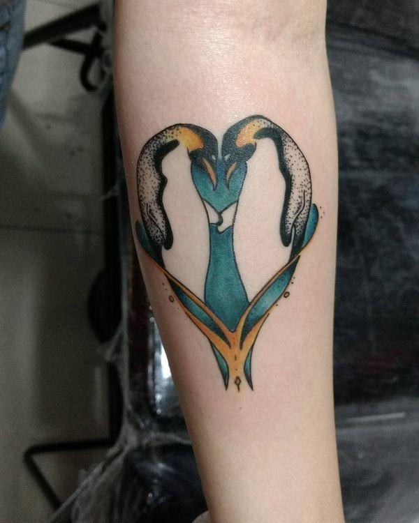 Красочная татуировка пингвинов для мужчин