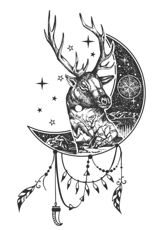 Эскиз оленя с полумесяцем