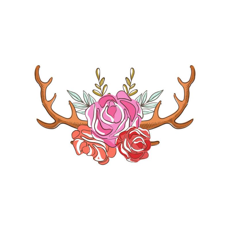 эскиз рогов оленя в розах