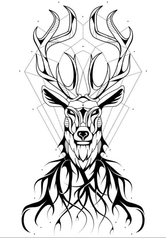 эскиз оленя в черно-белом стиле
