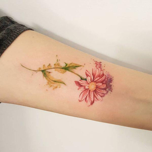 Акварельная татуировка ромашки на предплечье