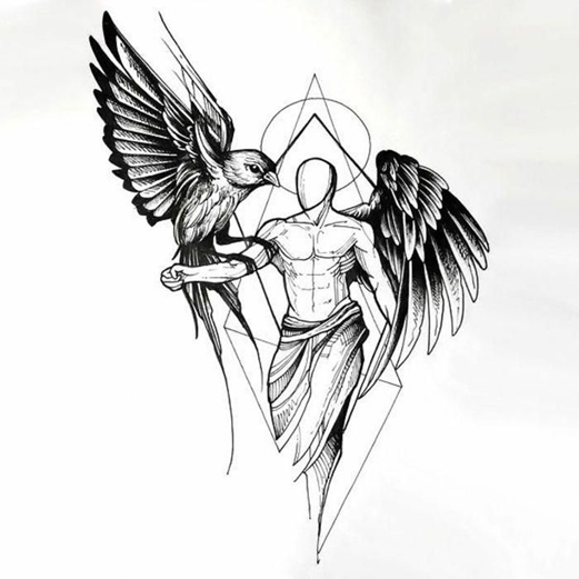 Эскиз ангела с птицей