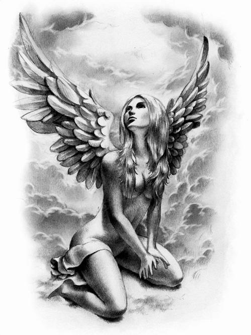 Эскиз девушка ангел