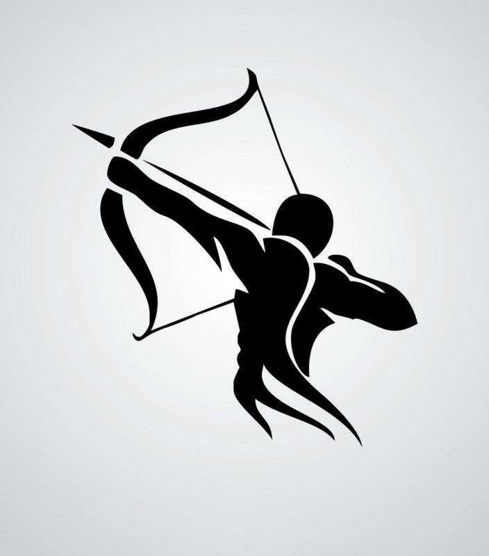 Эскиз стрельца в стиле трайбл