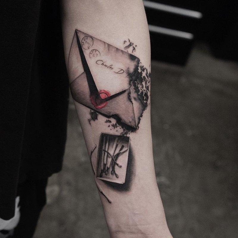 Удивительный 3D-конверт с идеей татуировки спичек для мужчин