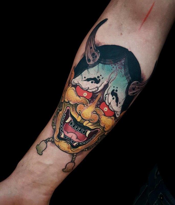 Идея тату с маской Badass scary Hannya для мальчиков