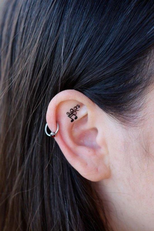 Music Note Tattoo In Ear для любителей музыки