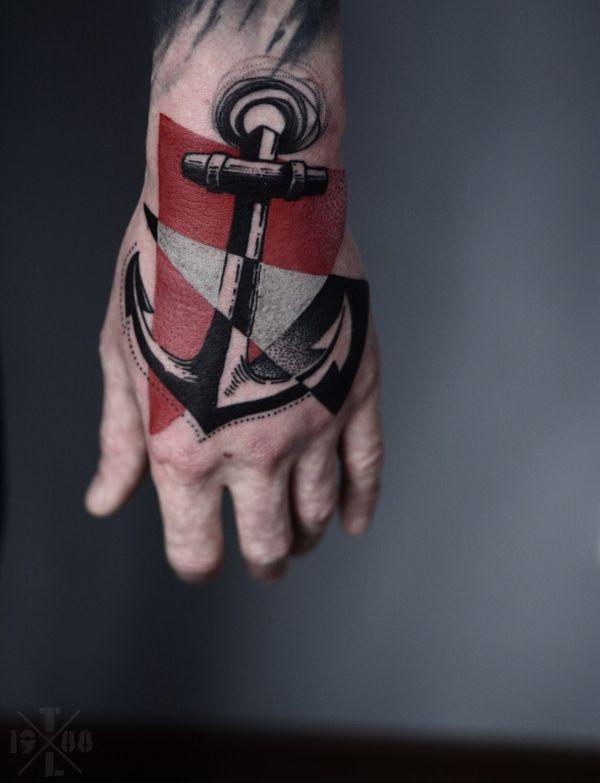Якорь рука арт тату дизайн