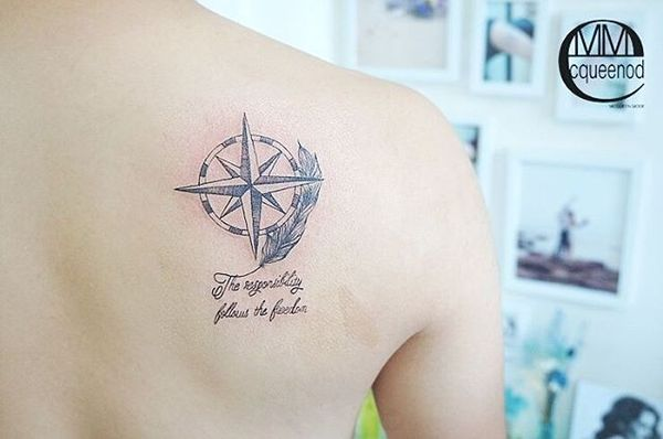Глубоко философская татуировка звездный компас с цитатой на спине