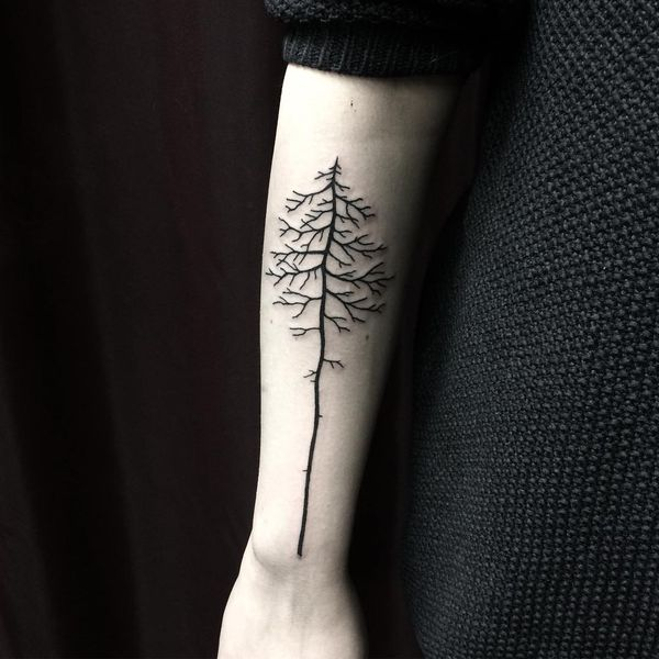 Татуировка с черным голым деревом для женщин.