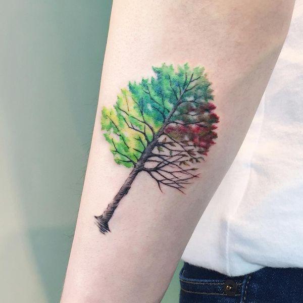 Татуировка четыре сезона дерево силуэт на предплечье.