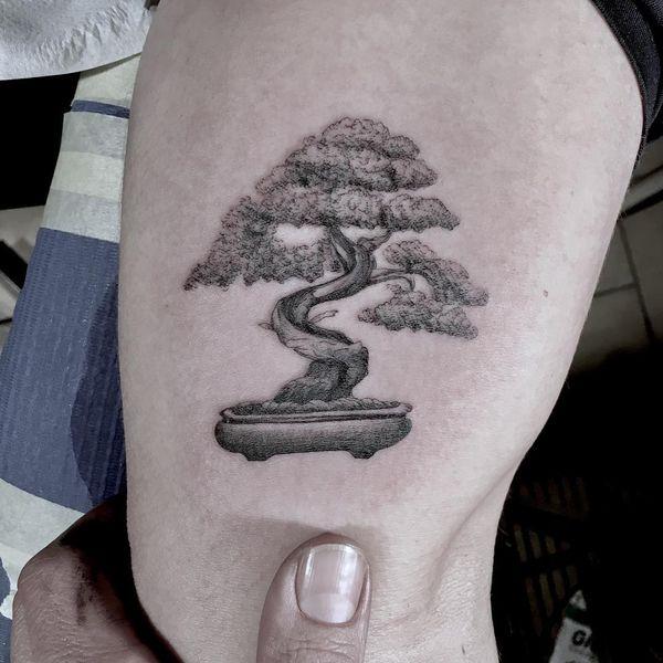 Серая татуировка дерева бонсай.