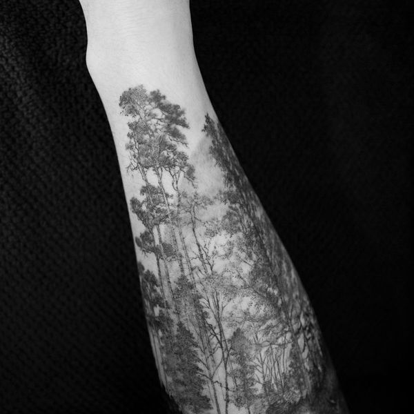 Тату рукав дерева лес для мужчин.