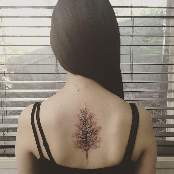 Тату дерево на спине для дам.