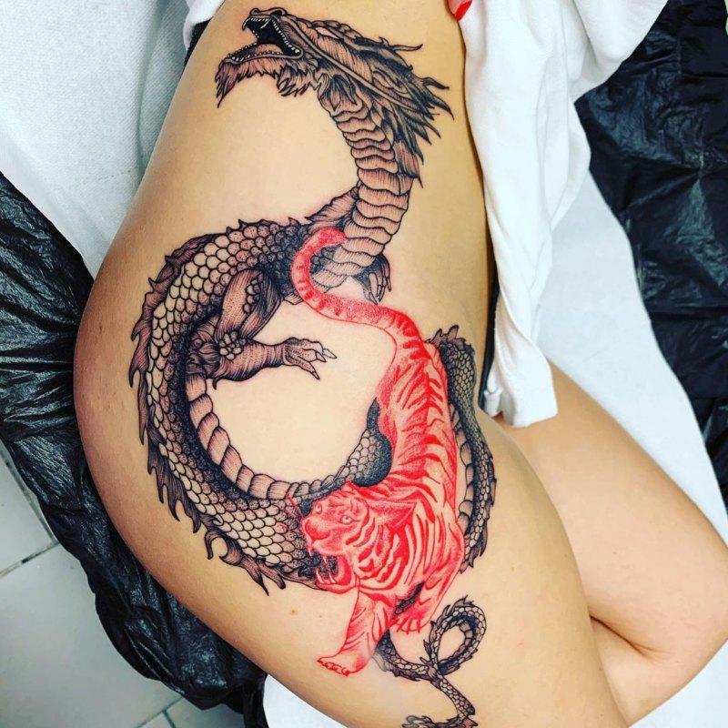 Значение тату тигр и дракон