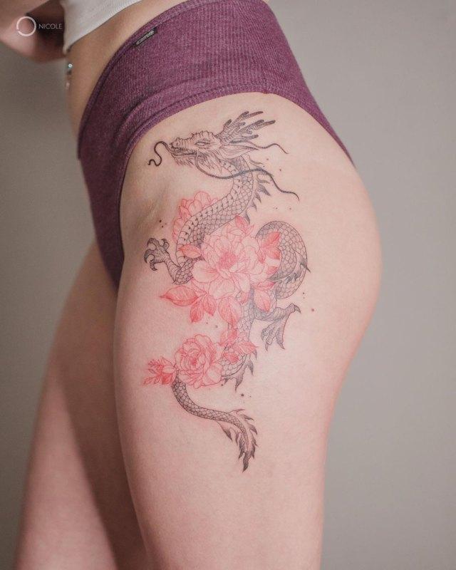 Значение татуировки дракона в цветах