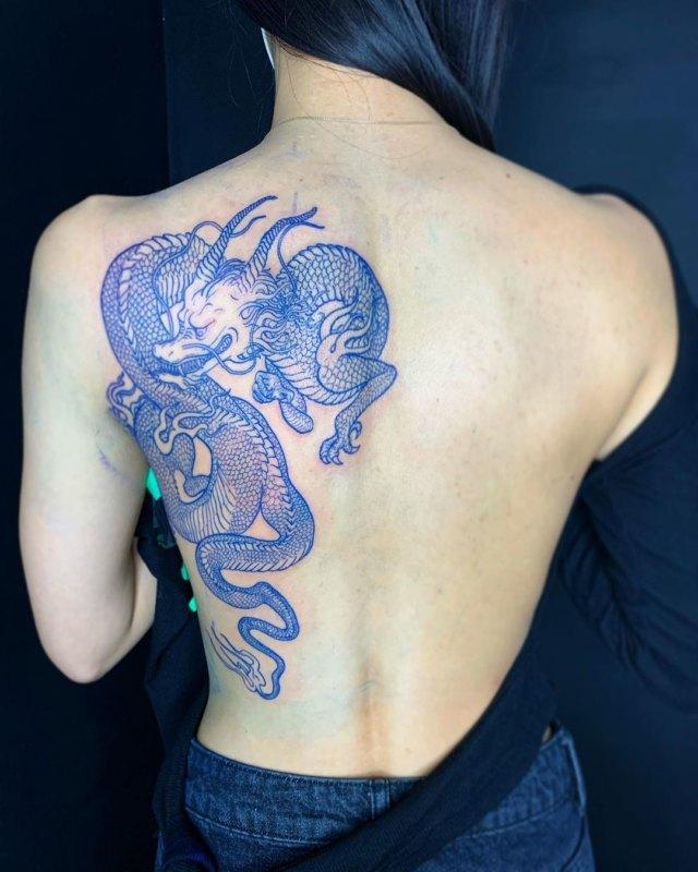 Татуировка синего дракона