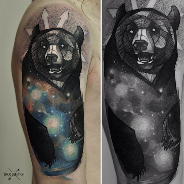 Тату медведь орион нью скул на рукаве