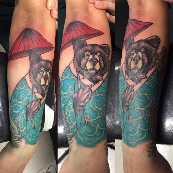 тату японского медведя на рукаве