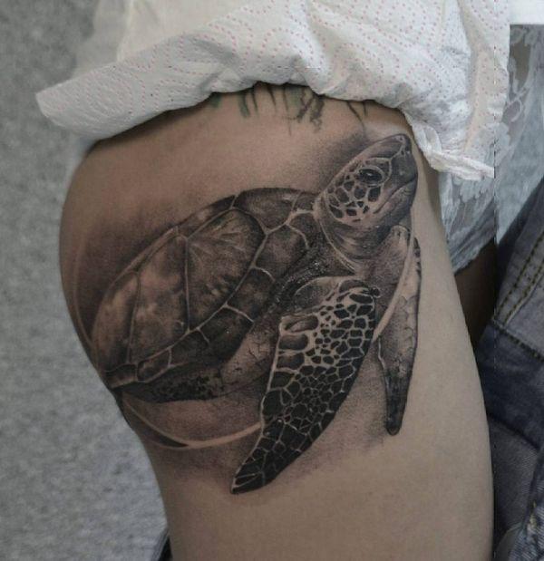 3d тату черепаха на бедре