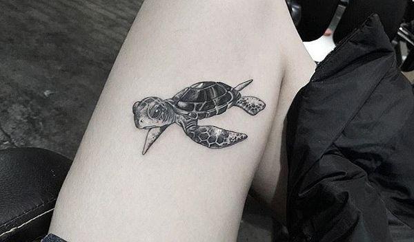 Тату черепаха на ноге