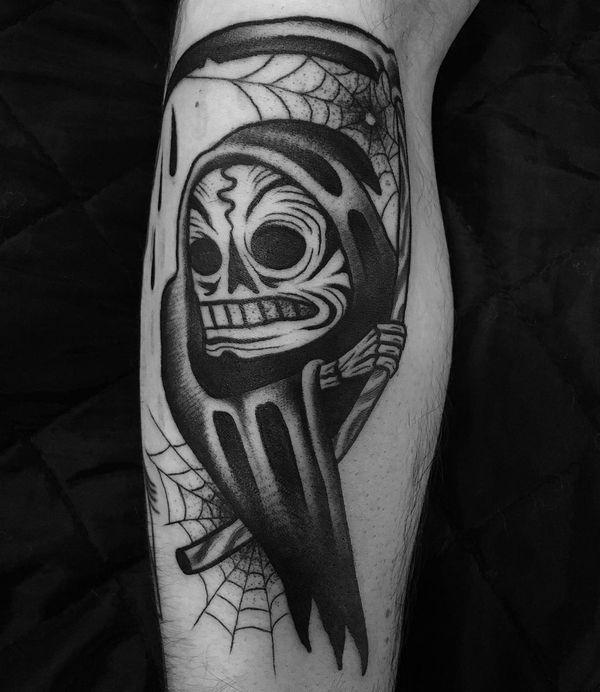 Забавная маленькая татуировка Blackwork Grim Reaper