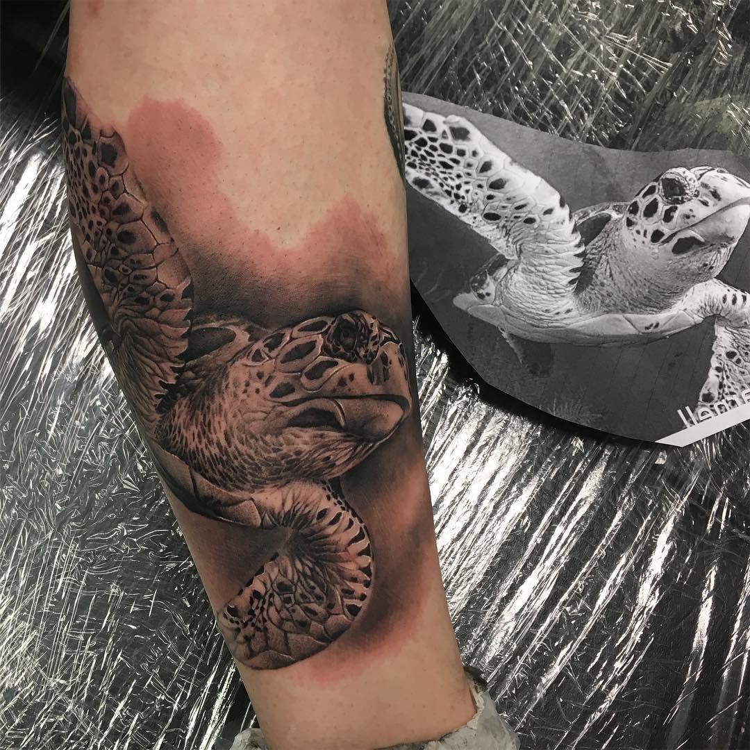 Черно-серая реалистичная татуировка черепаха на ноге