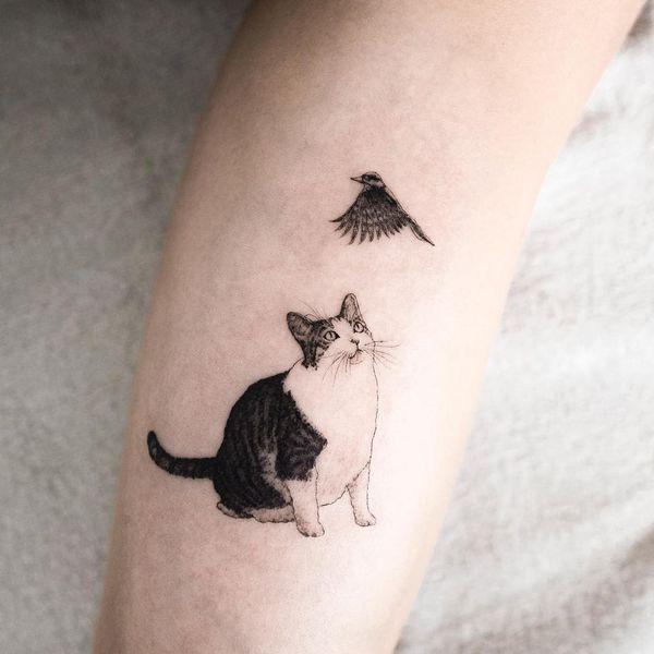 Татуировка маленькая птичка и кошка