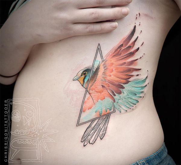 Птица с геометрическим треугольником
