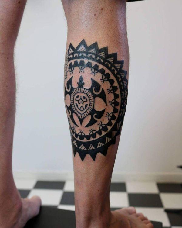 Татуировка полинезийская черепаха