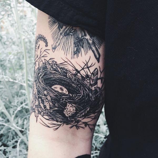 татуировка гнездо птицы